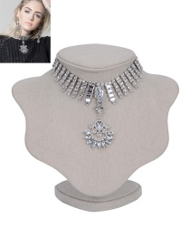 Fashion Silver Color Square Shape Diamond Decorated Hollow Out Necklace