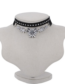 Fashion Black Rivets Decorated Doubler Layer Design Necklace Sets