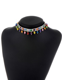 Fashion White Embroidery Balls Decorated Color Matching Choker