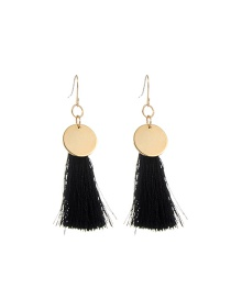 Fashion Black Long Tassel Pendant Decorated Pure Color Earrings