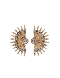 Fashion Gold Color Diamond Decorated Wings Shape Pure Color Earrings