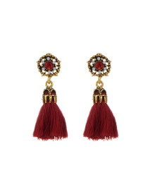Fashion Claret Red Tassel Decorated Hollow Out Pure Color Earrings