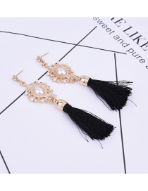 Fashion Black Pearls&tassel Decorated Pure Color Simple Earrings