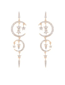 Fashion Gold Color Star&moon Pendant Decorated Pure Color Long Earrings