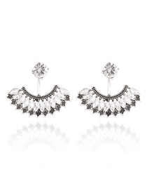 Fashion Silver Color Oval Shape Diamond Decorated Sector Design Earrings