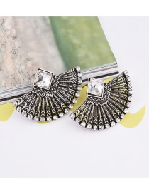 Exaggerated Silver Color Square Shape Diamond Pure Color Sector Earrings