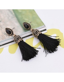 Fashion Black Big Gemstone Decorated Tassel Design Pure Color Earrings