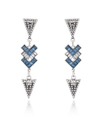 Elegant Blue Triangle Shape Decorated Color Matching Earrings