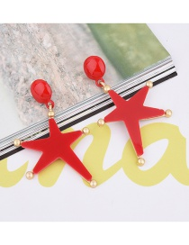 Elegant Red Star&beads Shape Decorated Pure Color Earrings