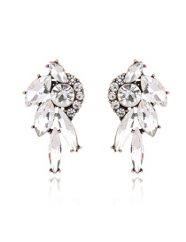 Trendy White Oval Shape Diamong Decorated Pure Color Earrings