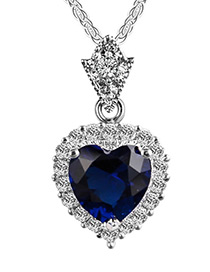 Elegant Sapphire Blue Heart Shape Pendant Decorated Color Matching Necklace