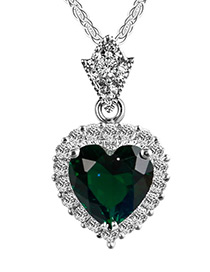 Elegant Dark Green Heart Shape Pendant Decorated Color Matching Necklace