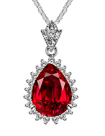 Elegant Red Waterdrop Shape Pendant Decorated Color Matching Necklace