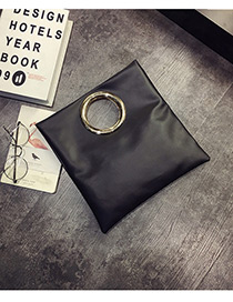 Elegant Black Circular Ring Decorated Pure Color Handbag