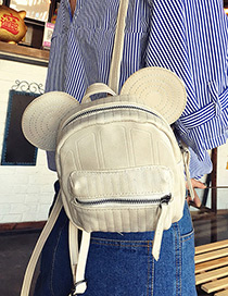 Trendy White Pure Color Decorated Cartoon Ears Shape Backpack