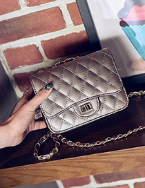 Fashion Gray Grid Pattern Decorated Pure Color Mini Shoulder Bag