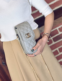 Fashion Gray Grid Pattern Decorated Pure Color Mini Purse