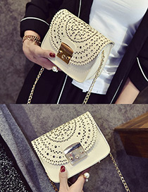 Vintage White Pure Color Decorated Hollow Out Design Shoulder Bag