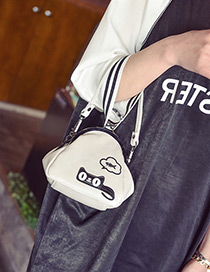 Fashion White Cartoon Pattern Decorated Color Matching Simple Purse