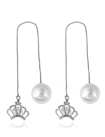 Elegant Silver Color Crown Shape Pearl&diamond Decorated Simple Earrings