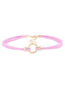 Fashion Pink Circular Ring Decorated Double Layer Choker