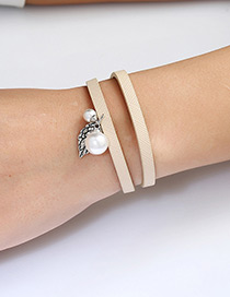 Trendy Beige Leaf&pearls Decorated Double Layer Bracelet