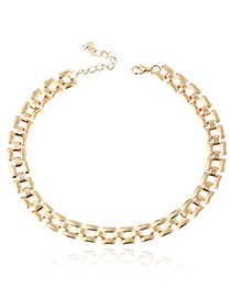 Trendy Gold Color Pure Color Decorated Hollow Out Design Necklace