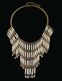 Personality Gold Color+white Pearl&tassel Decorated Color Matching Necklace
