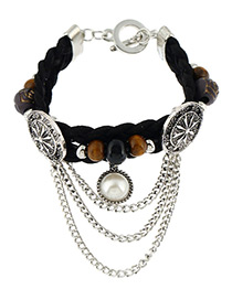 Trendy Black+silver Color Beads&pearl Decorated Multi-layer Simple Bracelet