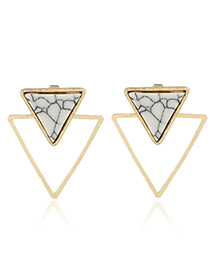 Trendy Gold Color Triangle Shape Decorated Color Matching Simple Earrings