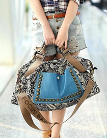 Fashion Multi-color Rivet Decorated Color Matching Simple Shoulder Bag