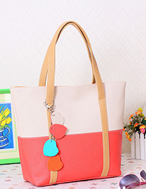 Fashion Khaki+watermelon Red Color Matching Decorated Square Shape Design Shoulder Bag