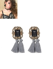 Fashion Gray Tassel Decorated Pure Color Simple Earrings