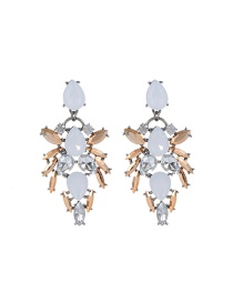 Fashion Champagne Water Drop Shape Diamond Decorated Color Matching Earrings