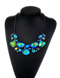 Elegant Blue Irregularity Shape Gemstone Decorated Simple Necklace