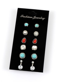Retro Multi-color Round Shape Gemstone Decorated Simple Earrings(6sets)
