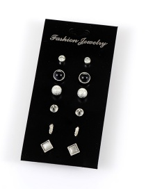 Retro Silver Color Round Shape Gemstone Decorated Simple Earrings(6sets)