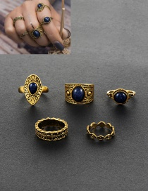 Retro Gold Color Round Shape Gemstone Decorated Simple Pure Color Rings(5pcs)
