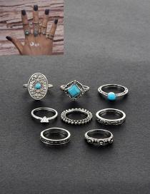 Retro Silver Color Diamond Shape Decorated Simple Rings(8pcs)