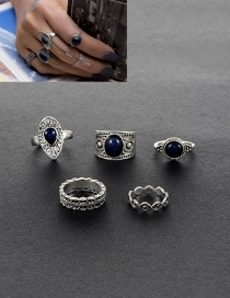 Fashion Silver Color Round Shape Gemstone Decorated Simple Rings(5pcs)