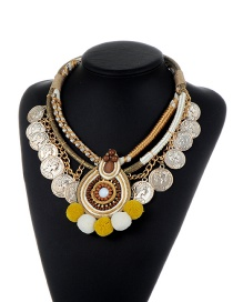 Fashion Multi-color Coins&fuzzy Balls Decorated Multi-layer Necklace
