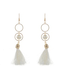 Fashion White Pearl Decorated Tassel Design Pure Color Earrings