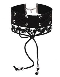 Trendy Black Bowknot&rivet Decorated Multi-layer Pure Color Choker