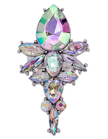 Trendy Multi-color Water Drop Shape Diamond Decorated Color Matching Ring