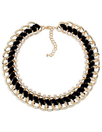 Fashion Black Diamond Decorated Multi-layer Weave Design Simple Necklace