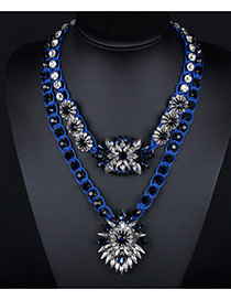 Trendy Blue Flower Shape Decorated Double Layer Color Matching Necklace