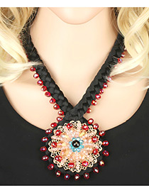 Fashion Multi-color Round Shape Decorated Simple Hand-woven Necklace