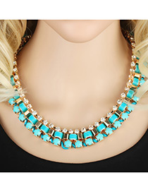 Elegant Lack Blue Round Shape Diamond Decorated Simple Multilayer Necklace