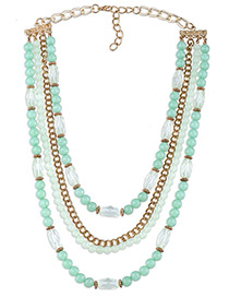 Fashion Light Green Round Shape Decorated Simple Multilayer Long Chain Necklace
