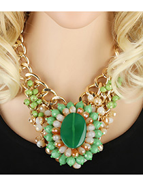 Exaggerate Green Oval Shape Gemstone Decorated Simple Short Chain Necklace
